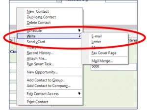 From the Contact Detail View right click your mouse on a blank area. This will bring up the shortcut menu where you can then select Write -> E-mail: