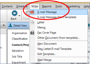 Within the Contact Detail View go to the top menu bar and select Write ->Email Message: