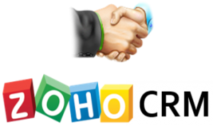 Zoho CRM logo with handshake icon